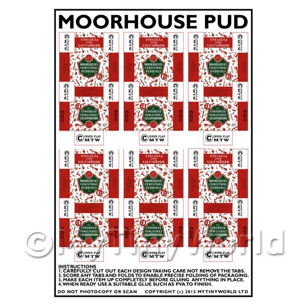 Dolls House Miniature Packaging Sheet of 6 Moorhouse Pudding Boxes