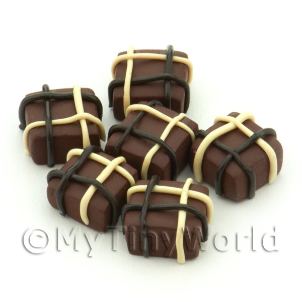 Dolls House Miniature  | Handmade Square Milk Chocolate Parcel Bead - Jewellery