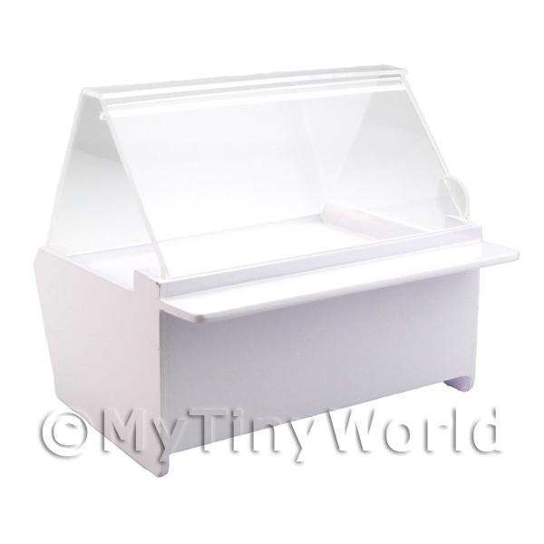 Miniature Dolls House Miniature White Wood Food Display Unit