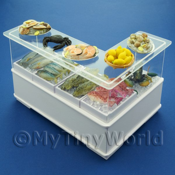 Dolls House Miniature Left Hand L Shape Fish Counter