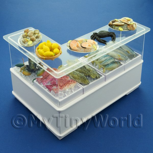 Dolls House Miniature Right Hand L Shape Fish Counter
