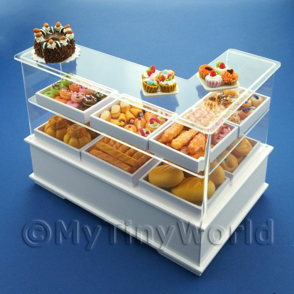 Dolls House Miniature Left Hand 3 Tier Trayed Bakery Counter
