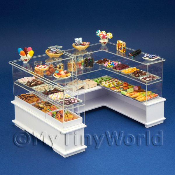 Dolls House Miniature Double Counter Sweet Shop Scene