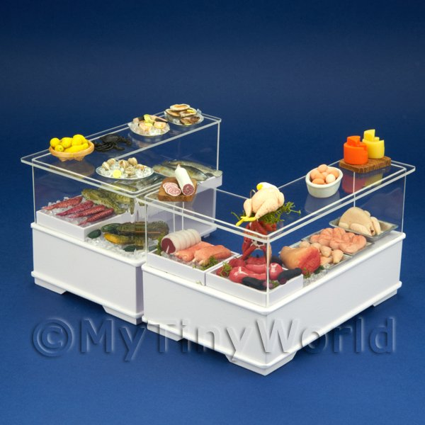 Complete Dolls House Miniature Double Fish And Meat Counter