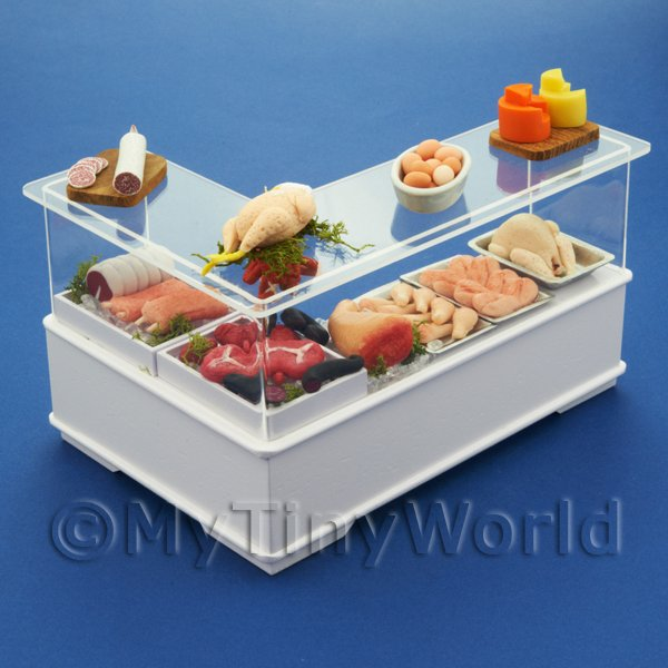 Right Hand L Shape Dolls House Miniature Butchers Counter