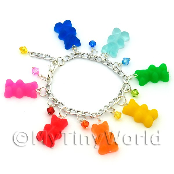Dolls House Miniature  | Handmade 7 Colour Jelly Bear Bracelet