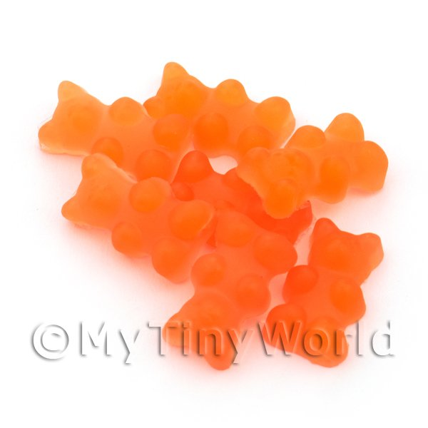 Dolls House Miniature - Translucent Orange Gummy Bear Charm For Jewellery