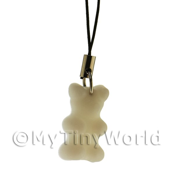 Solid White Silicon Rubber Jelly Bear Phone Charm