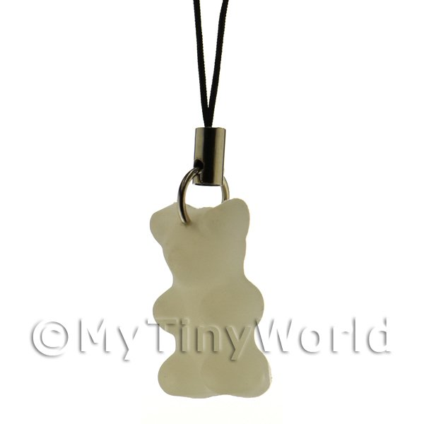 Translucent White Jelly Bear Phone Charm