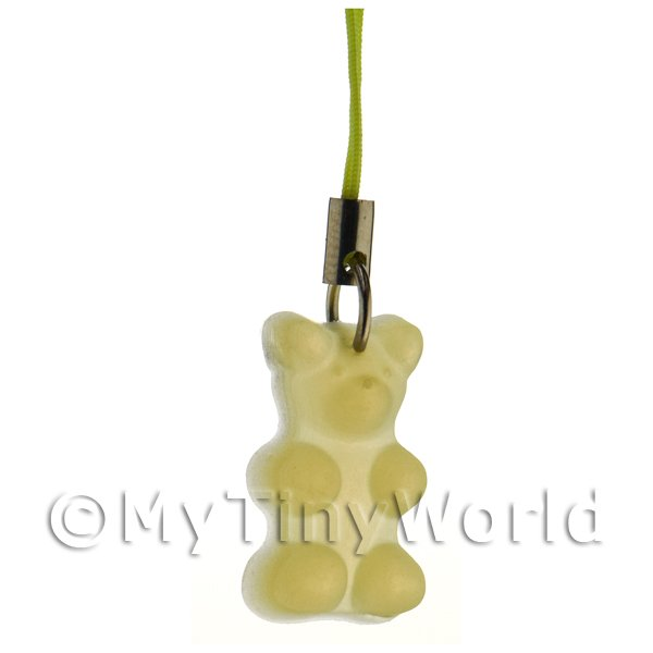 Translucent Pale Yellow Jelly Bear Phone Charm