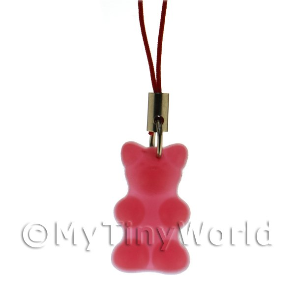 Translucent Deep Red Jelly Bear Phone Charm