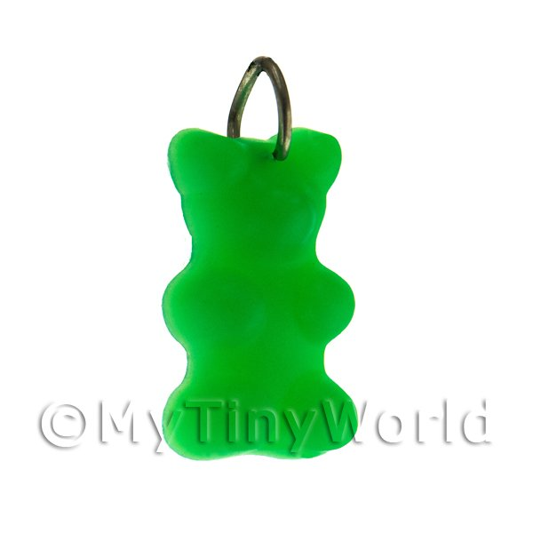 Translucent Dark Green Jelly Bear Charm