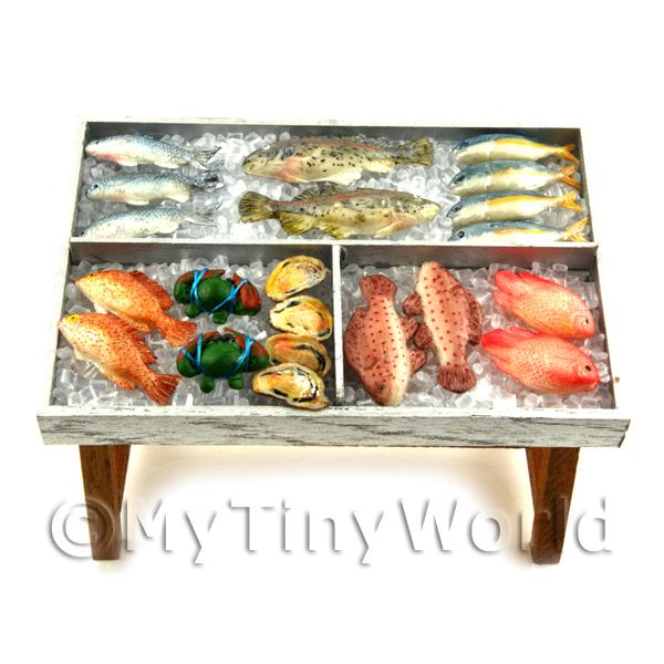 Dolls House Miniature Fully Stocked Fishmonger Counter Style 3
