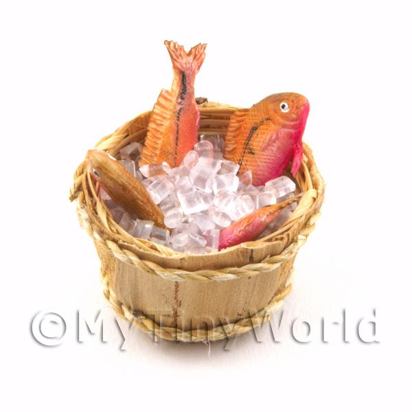 1/12 Scale Dolls House Miniatures  | 4 Dolls House Miniature Fish With Ice In A Basket (FSHB06)