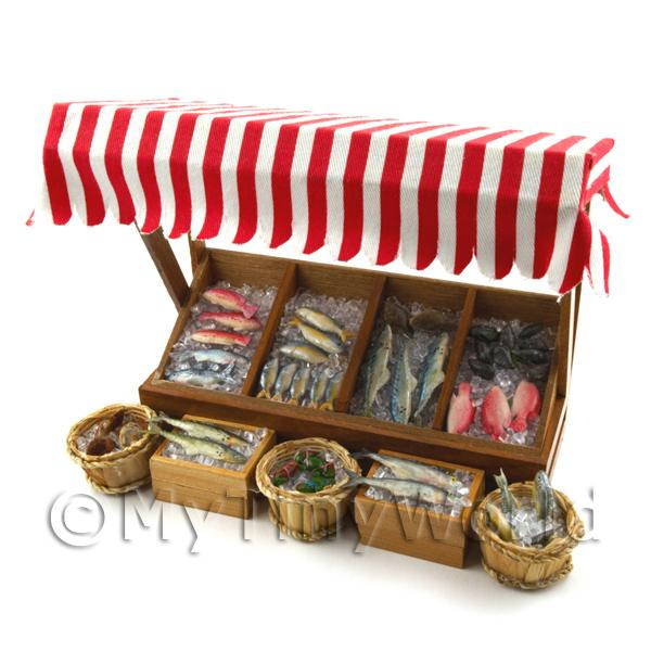 Dolls House Miniature  | Dolls House Miniature Fully Stocked Fishmonger Counter Style 4