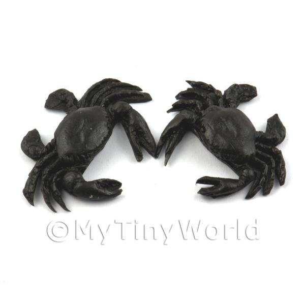 2 Large Dolls House Miniature Black Crabs