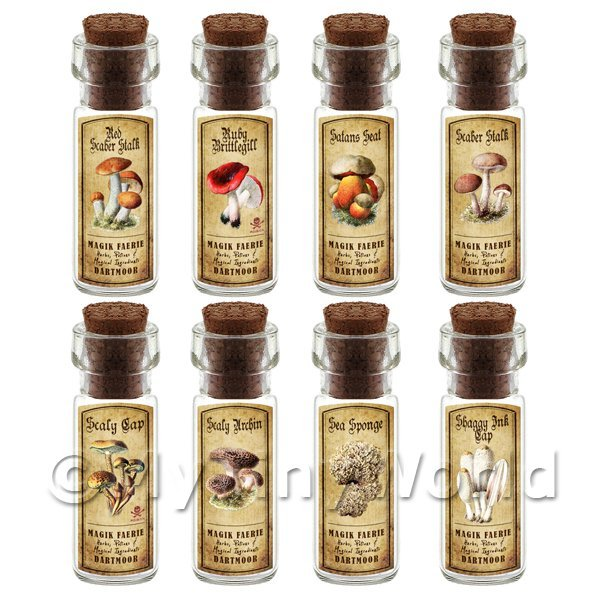 Dolls House Miniature  | Dolls House Apothecary 8 Fungus / Mushroom Bottle And Colour Labels Set 5