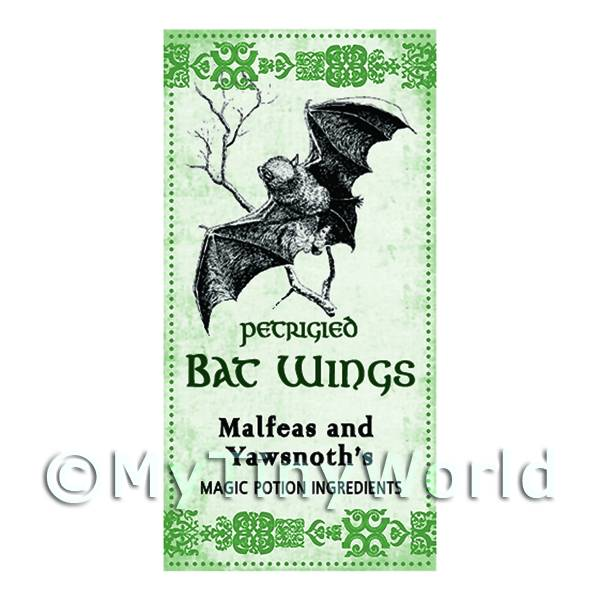 Dolls House Miniature Petrified Bats Wings Magic Label (S3)