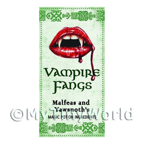 Dolls House Miniature Vampire Fangs Magic Label (S3)
