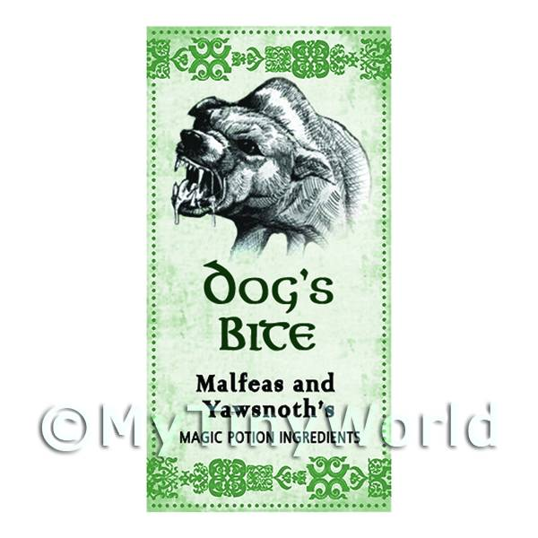 Dolls House Miniature Dogs Bite Magic Label (S3)