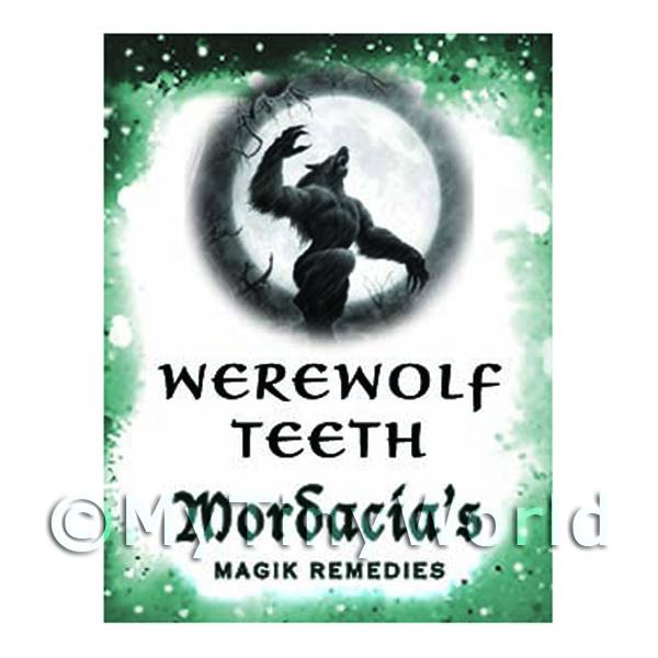 1/12 Scale Dolls House Miniatures  | Dolls House Miniature Werewolf Teeth Magic Label (S6)