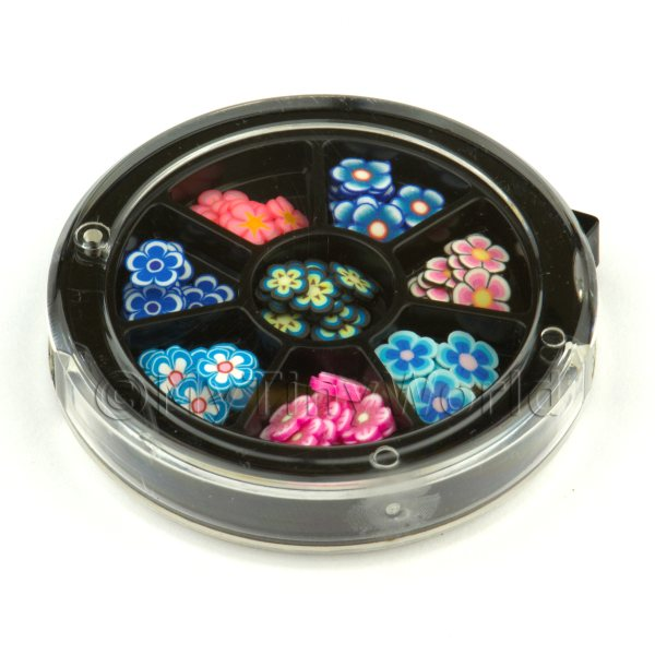 80 Assorted Nail Art Flowers Slices In a Wheel Set 3