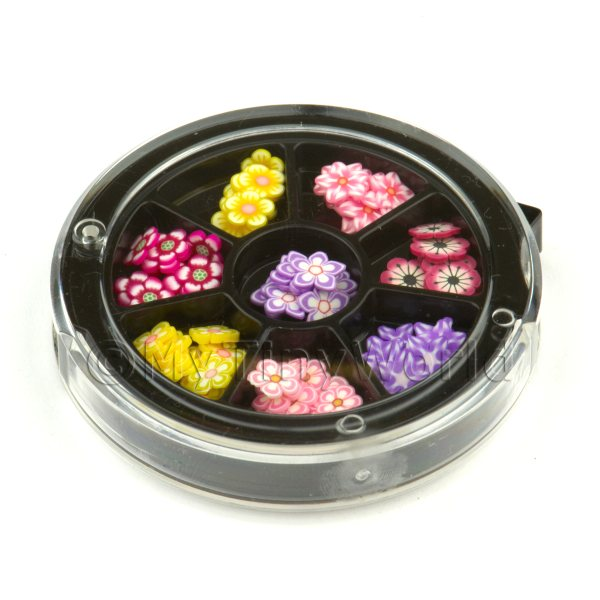 80 Assorted Nail Art Flowers Slices In a Wheel Set 4