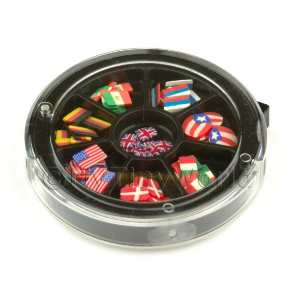 80 Assorted Nail Art Flag Slices In a Wheel