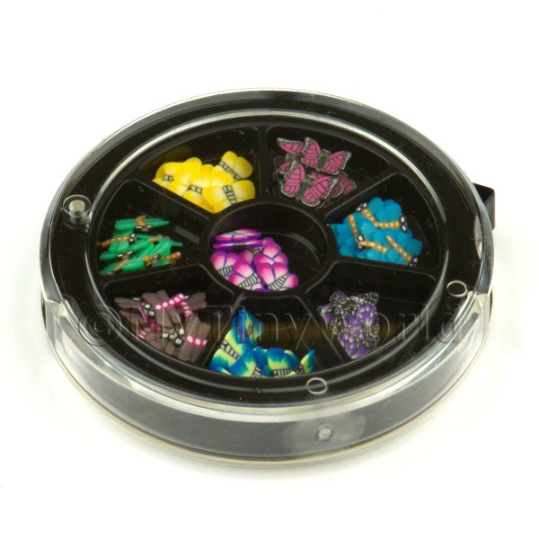 80 Assorted Nail Art Butterfly Slices In a Wheel