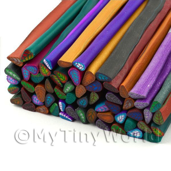 60 Mixed Colour And Style Leaf Canes - Nail Art (11NCST9)