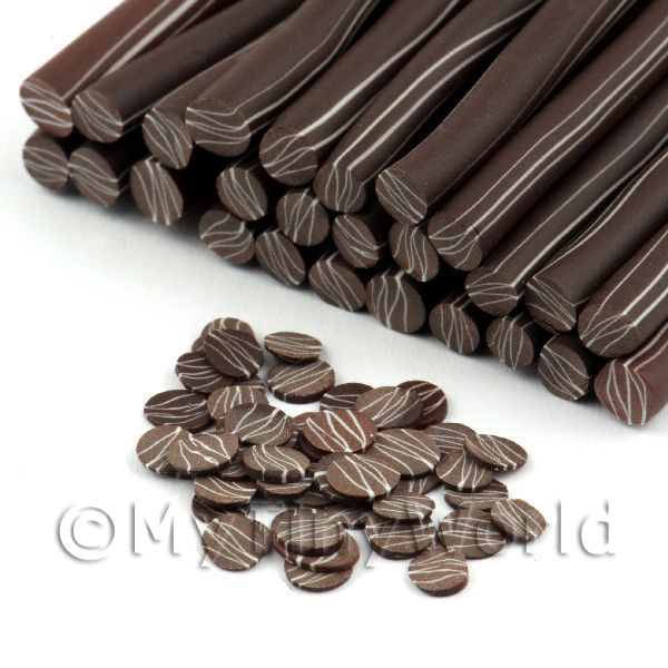 Handmade Dark Chocolate Ripple Cane - Nail Art (11NC51)
