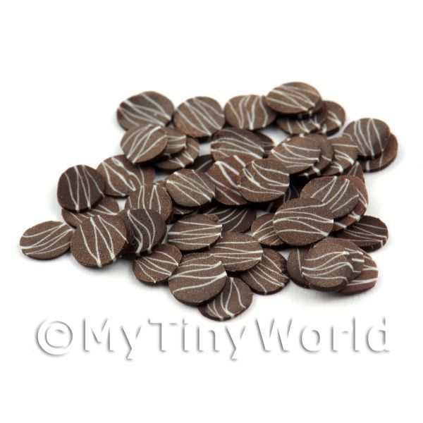 Dolls House Miniature  | 50 Dark Chocolate Ripple Slices - Nail Art (11NS38)