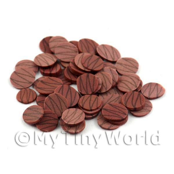 Dolls House Miniature  | 50 Milk Chocolate Ripple Slices - Nail Art (11NS40)