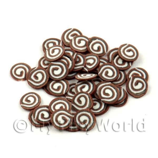 50 Triple Chocolate Swirl Slices - Nail Art (11NS41)