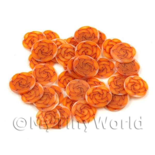 50 Dark Orange Rose Cane Slices - Nail Art (11NS35)