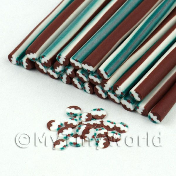 Handmade Christmas Pudding Cane  - Nail Art (11NC05)