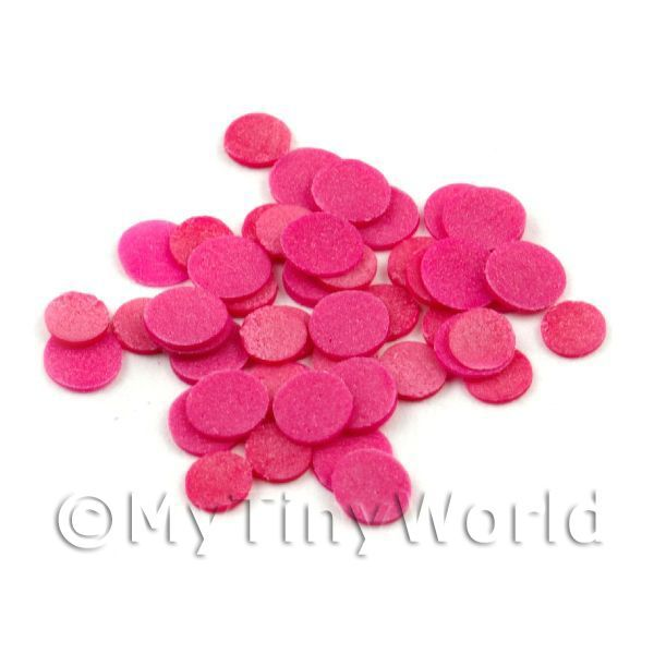 50 Dark Pink Polka Dot Cane Slices - Nail Art (11NS18)