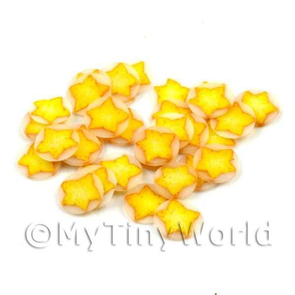 Dolls House Miniature  | 50 Yellow Christmas Star Cane Slices - Nail Art (11NS08)