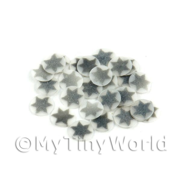 Dolls House Miniature  | 50 Silver Christmas Star Cane Slices - Nail Art (11NS10)