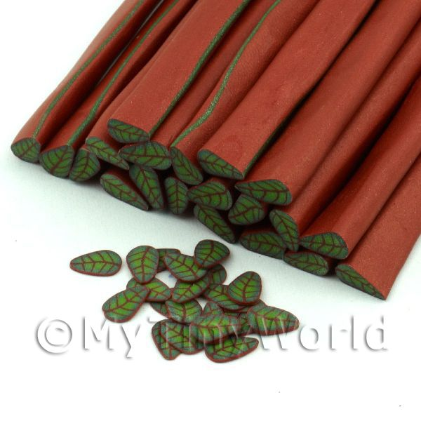 Dolls House Miniature - 1 Green Leaf With Copper Cane - Nail Art (11NC77)
