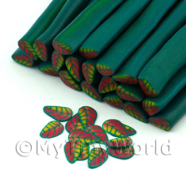 Handmade Red, Yellow And Green Leaf Cane - Nail Art (11NC81)