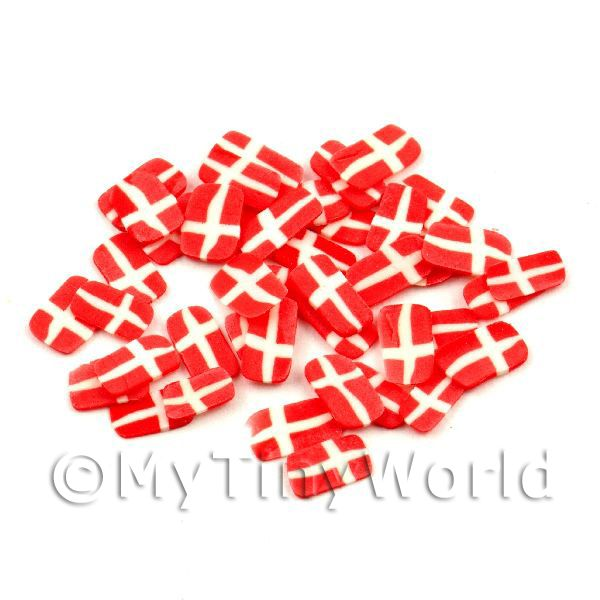50 Danish Flag Cane Slices - Nail Art (11NS52)