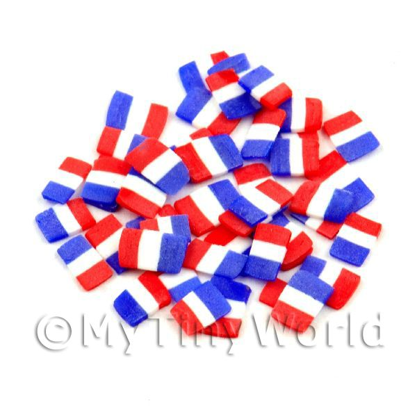 50 French Flag Cane Slices - Nail Art (11NS51)