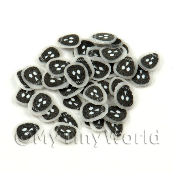 50 Transparent Black Skull Cane Slices - Nail Art (11NS12)