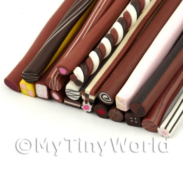 20 Mixed Chocolate And Sweet Canes - Nail Art (11NCST1)