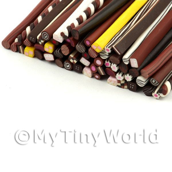 Dolls House Miniature  | 60 Mixed Chocolate And Sweet Canes - Nail Art (11NCST1)