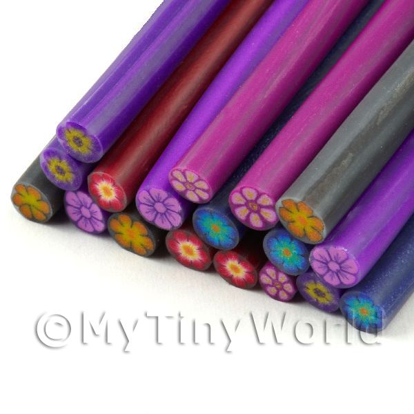 18 Mixed Solid Colour Flower Canes  - Nail Art (11NCST7)