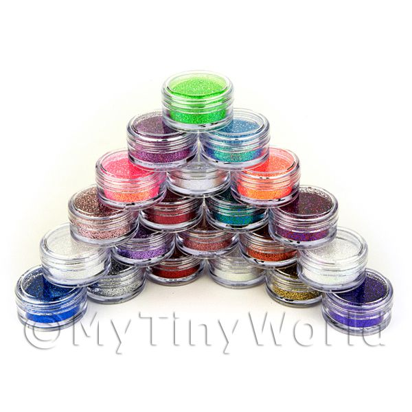 Dolls House Miniature  | High Quality Nail Art Glitter - 21 x 2g Mixed Pot Set 1