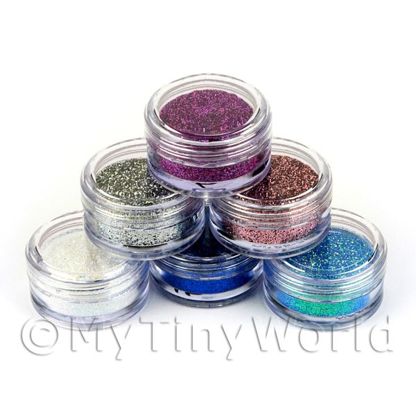 High Quality Nail Art Glitter - 6 x 2g Mixed Pot Set 1