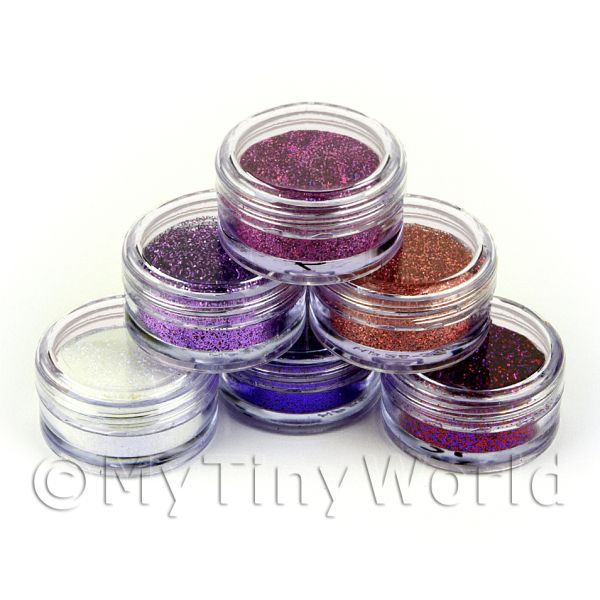 High Quality Nail Art Glitter - 6 x 2g Mixed Pot Set 2
